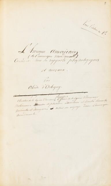 View 2. Thumbnail of Lot 141. ORBIGNY. L'Homme américain. Manuscrit autographe. [Vers 1838]. Fort in-4, demi-chagrin rouge. 550 p..
