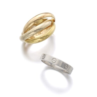 View 2. Thumbnail of Lot 146. CARTIER   RING, 'LOVE', AND RING, 'TRINITY'.