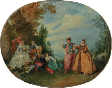 View 1. Thumbnail of Lot 616. An outdoor concert with the Beautiful Greek and the Amorous Turk.