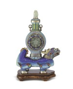 A CHINESE SILVER, ENAMEL, AND JADE DRAGON CLOCK, 20TH CENTURY