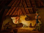 HENRI VOORDECKER     A BOY AND A GIRL WITH THEIR PIGEONS IN A LOFT