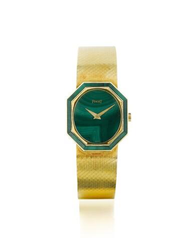 View 1. Thumbnail of Lot 74. Piaget | Montre de dame or et malachite | Lady's gold and malachite bracelet watch.