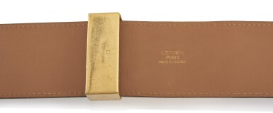 View 2. Thumbnail of Lot 7. Leather and gold plated hardware belt, Collier de chien 75, Hermès, 1995.