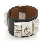 Black leather and palladium bracelet, Collier de chien , Hermès, 2007