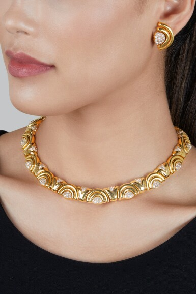View 2. Thumbnail of Lot 143. Bulgari   Gold and Diamond Necklace and Pair of Earclips.