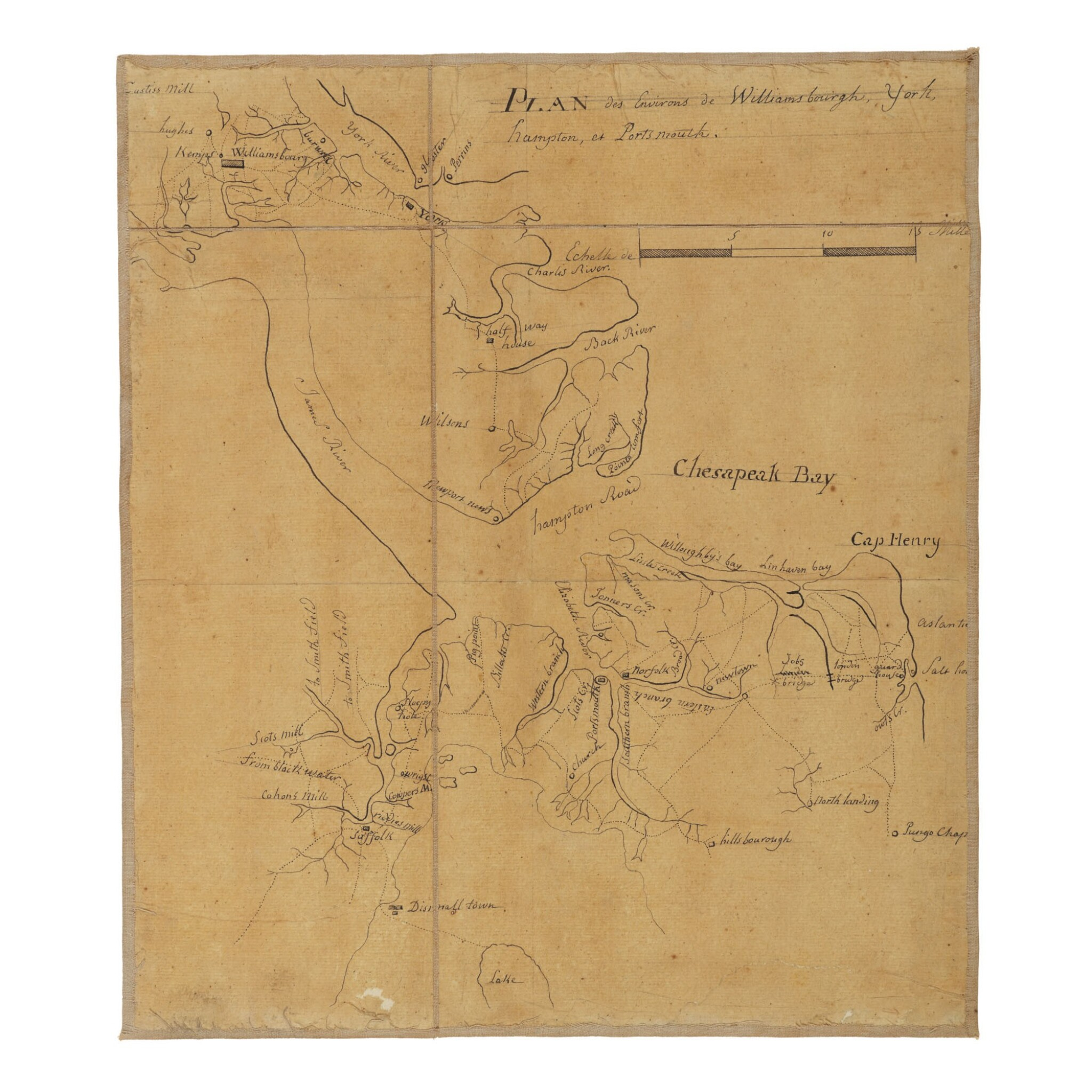 View full screen - View 1 of Lot 552. (Yorktown Campaign—Jean-Nicolas Desandrouins) | A Yorktown Campaign map from the personal archive of the Comte de Rochambeau.