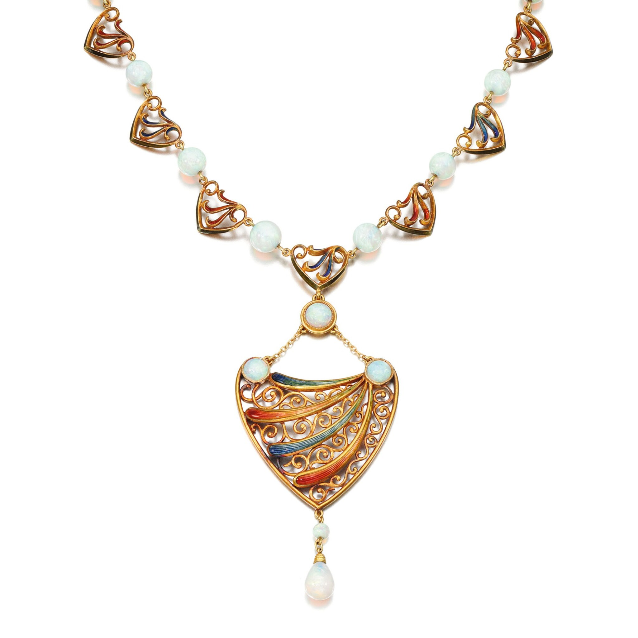 ENAMEL AND OPAL NECKLACE, ALEXIS FALIZE, 1890S