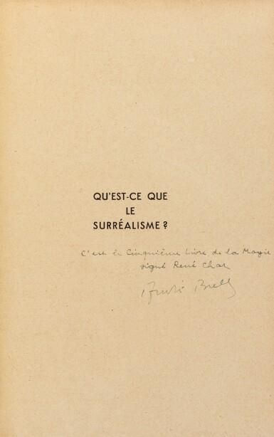 View 2. Thumbnail of Lot 223. Qu'est-ce que le surréalisme ? 1934. EO. Ex de René Char sur papier vert, dans une reliure de Sün Evrard.