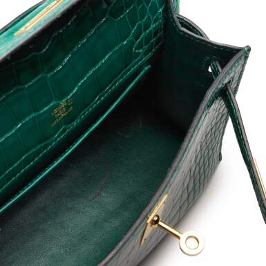 View 9. Thumbnail of Lot 71. Cactus Kelly Pochette in Shiny Alligator Mississippiensis with Gold Hardware, 2012.