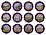 An Imperial presentation set of twelve Hutschenreuther porcelain plates, circa 1890