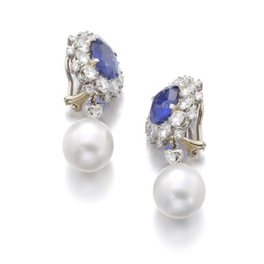 View 2. Thumbnail of Lot 98. PAIR OF SAPPHIRE, CULTURED PEARL AND DIAMOND EARRINGS.