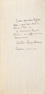 SEGALEN, Victor. Stèles. 1912. Ais de bois. 1/82 ex., avec envoi à son ami médecin le docteur Emile Robin.