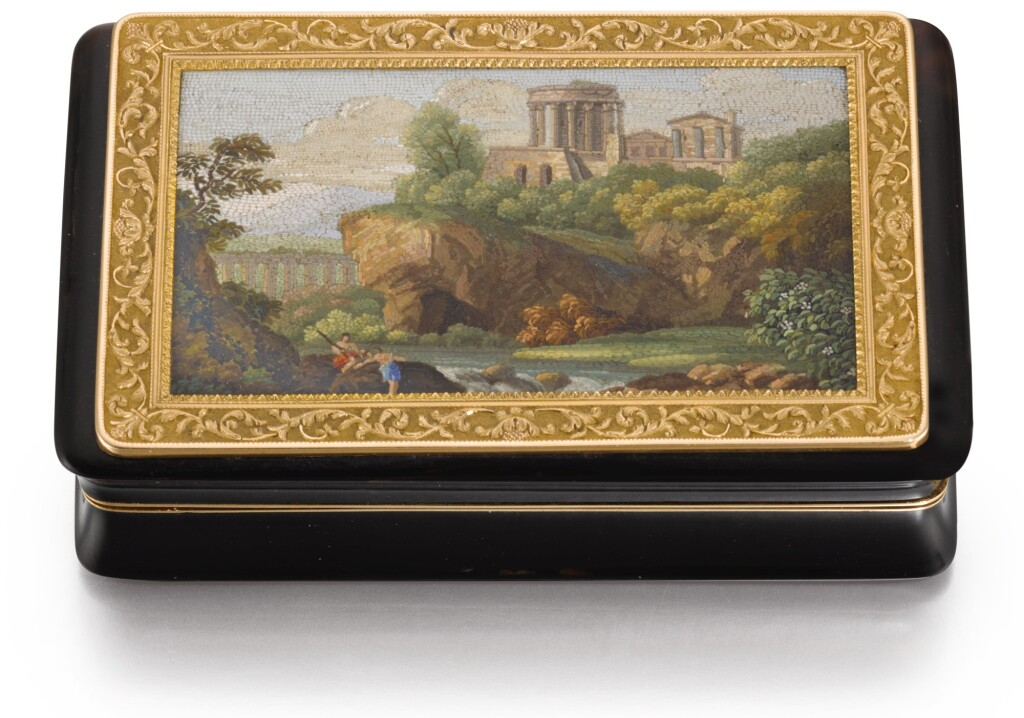A GOLD-MOUNTED ROMAN MICROMOSAIC AND TORTOISESHELL SNUFF BOX, JEAN-LOUIS LEFERRE, PARIS, 1809-1819