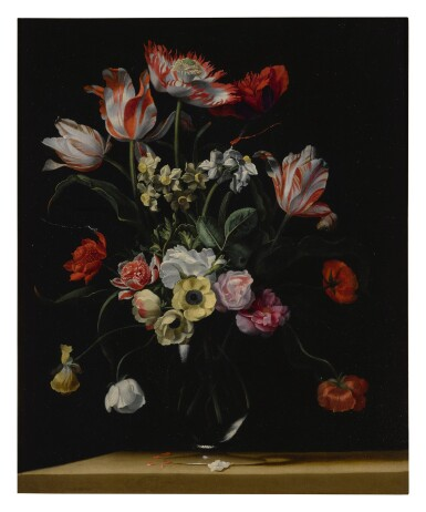 View 1. Thumbnail of Lot 143. JEAN-MICHEL PICART     TULIPS, DAFFODILS, CARNATIONS, POPPIES, ANEMONES, AND OTHER FLOWERS IN A GLASS VASE ON A WOODEN LEDGE;  TULIPS, LILIES, DAFFODILS, LILACS, AND OTHER FLOWERS IN A GLASS VASE ON A WOODEN LEDGE: A PAIR.