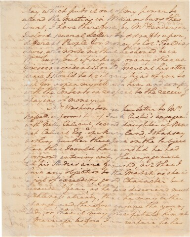 View 2. Thumbnail of Lot 267. Washington, George   A long and personal letter from Washington at Mt. Vernon.
