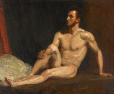 View 1. Thumbnail of Lot 115. Male nude seated on a bed.