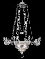 A SILVER SANCTUARY EIGHT-LIGHT LAMP, UNMARKED, PROBABLY SOUTH AMERICA, 19TH CENTURY | LAMPE DE SANCTUAIRE À 8 LUMIÈRES EN ARGENT, NON POINÇONNÉE, PROB. AMÉRIQUE DU SUD XIXÈ SIÈCLE