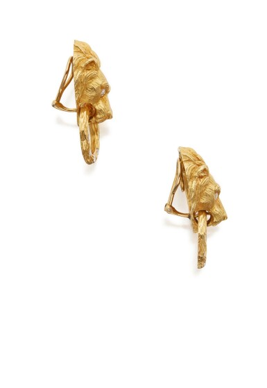 View 2. Thumbnail of Lot 21. PAIR OF GOLD AND DIAMOND EARCLIPS, VAN CLEEF & ARPELS.
