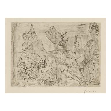 View 1. Thumbnail of Lot 156. PABLO PICASSO   MINOTAURE AVEUGLE GUIDÉ PAR UNE PETITE FILLE AU PIGEON (B. 224; BA. 436).
