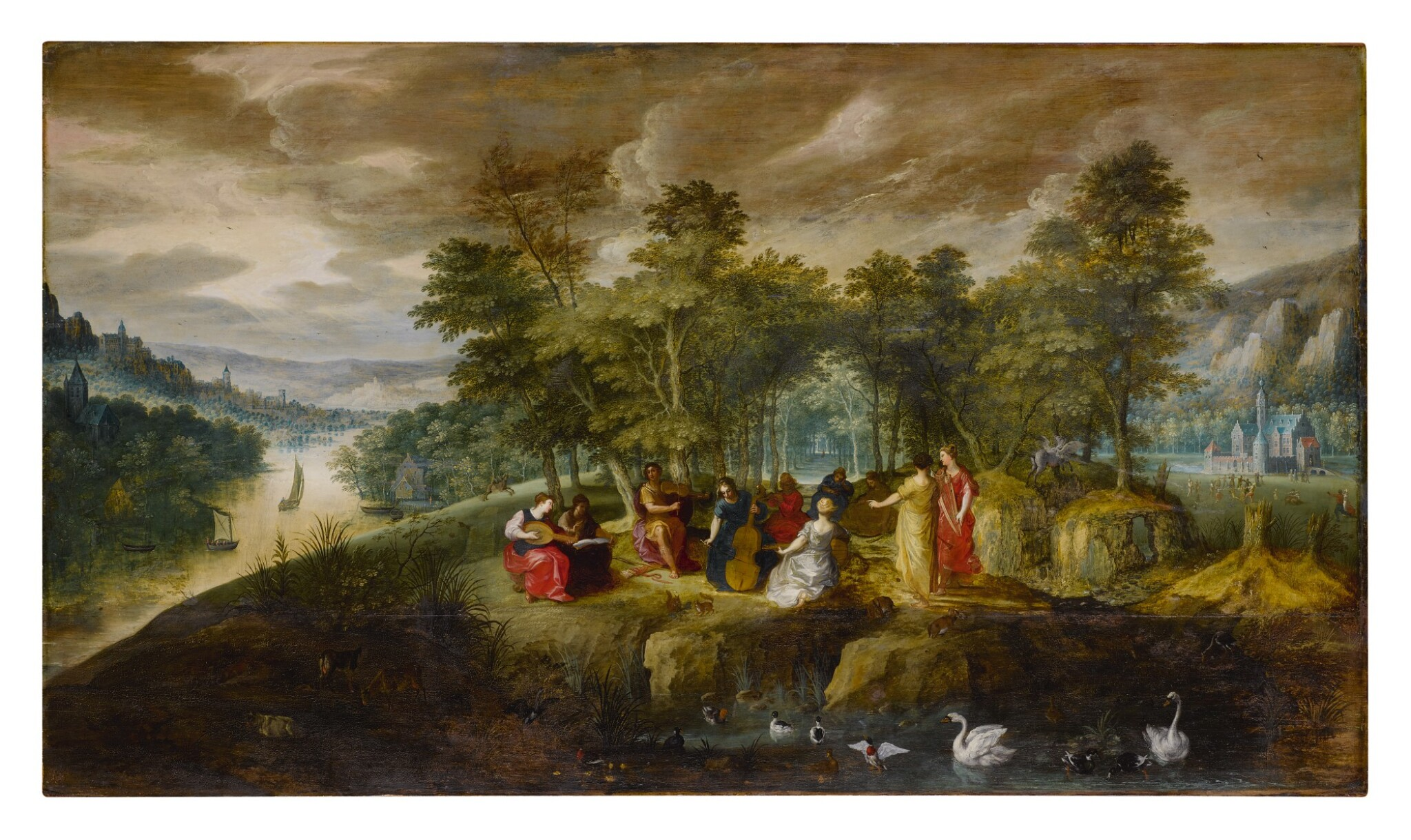 View full screen - View 1 of Lot 552. An extensive landscape with Apollo and the Muses at center, with animals in the foreground and a castle beyond.