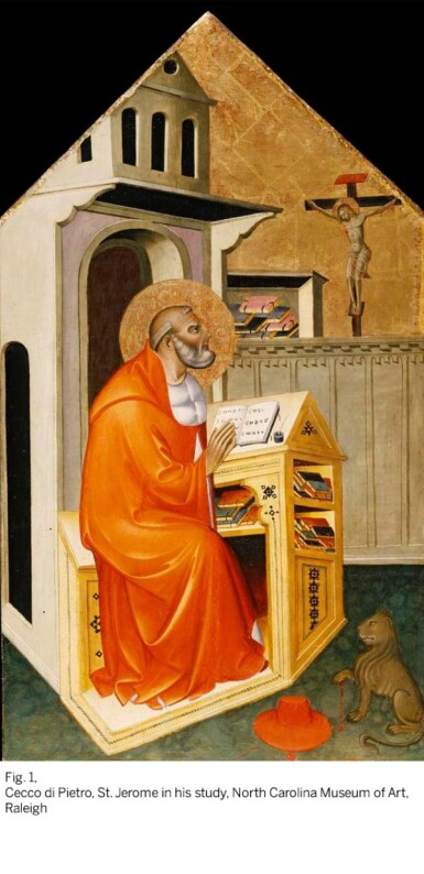 View 4. Thumbnail of Lot 58. CECCO DI PIETRO     AN EVANGELIST SHARPENING HIS QUILL.