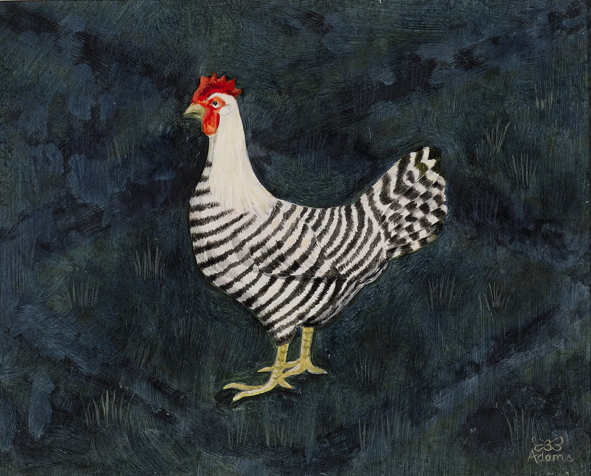 View full screen - View 1 of Lot 1524. BEE DABNEY ADAMS | BLACK AND WHITE HEN.