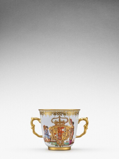 View 2. Thumbnail of Lot 92. An extremely rare Meissen armorial two-handled beaker from the service made for Elizabeth Farnese, Queen of Spain, Circa 1737 .