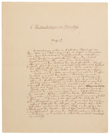 """R. Wagner. Autograph programme note for the overture to """"Die Meistersinger von Nurnberg"""", 1863"""