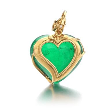 View 3. Thumbnail of Lot 745. Harry Winston   Emerald and diamond pendant   海瑞溫斯頓   祖母綠配鑽石吊墜.