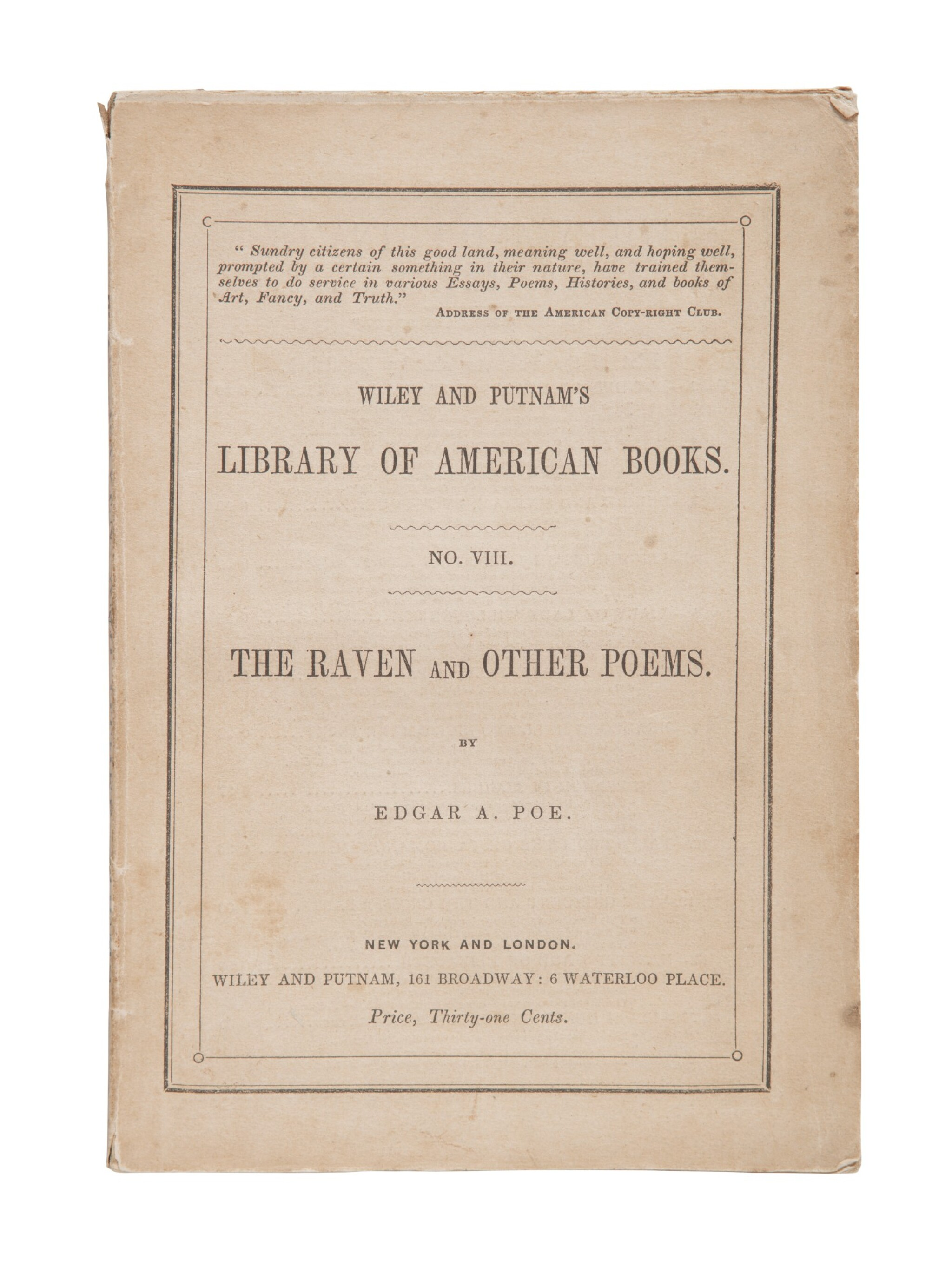 View full screen - View 1 of Lot 76. POE, EDGAR ALLAN | The Raven. New York: Wiley and Putnam, 1845.