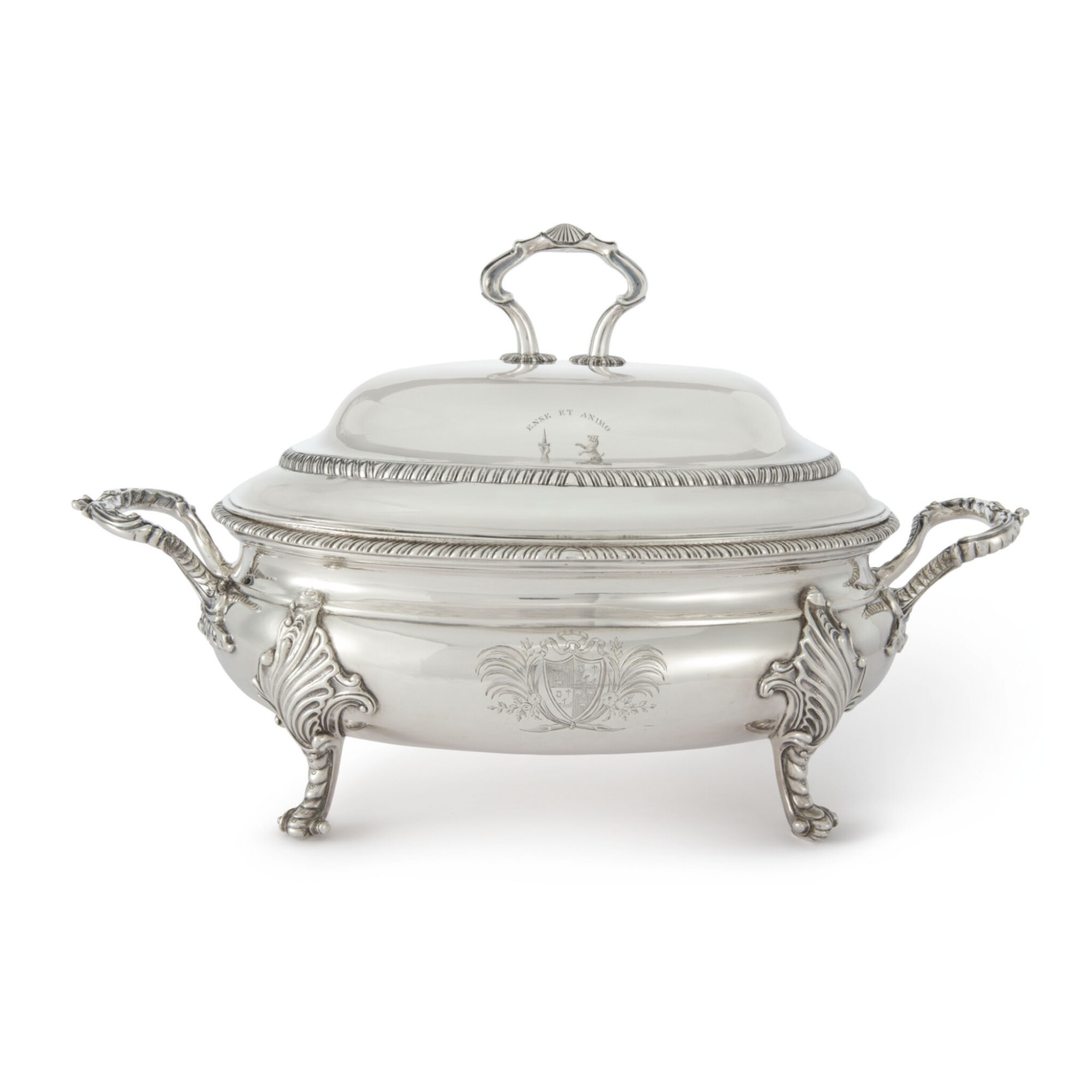 View full screen - View 1 of Lot 767. A SCOTTISH SILVER SOUP TUREEN AND COVER, GEORGE MCHATTIE, EDINBURGH, 1812.