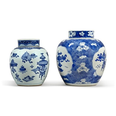 View 4. Thumbnail of Lot 31. Two blue and white jars and covers, Qing dynasty.