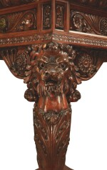 A RENAISSANCE REVIVAL CARVED MAHOGANY AND BRASS-MOUNTED SPECIMEN MARBLE TOP CENTER TABLE, NEW YORK OR PHILADELPHIA, CIRCA 1870