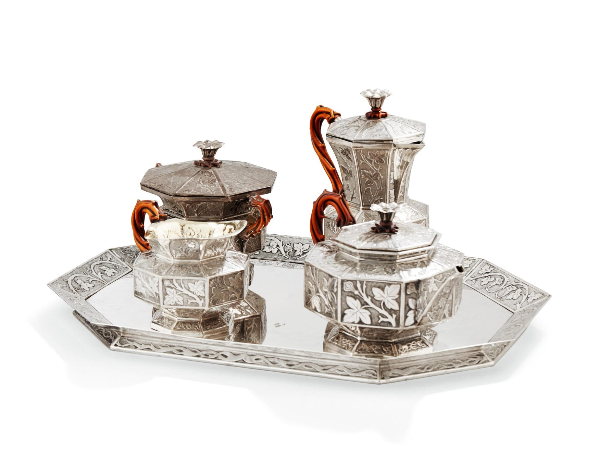 View full screen - View 1 of Lot 126. A SILVER TEA AND COFFEE SET, GIFT FROM EMPRESS OF RUSSIA, WEISSHAUPT, MUNICH, 1839   CADEAU DE L'IMPERATRICE ALEXANDRA FEODOROVNA DE RUSSIE SERVICE À THÉ ET CAFÉ EN ARGENT, PAR WEISSHAUPT, MUNICH, 1839.