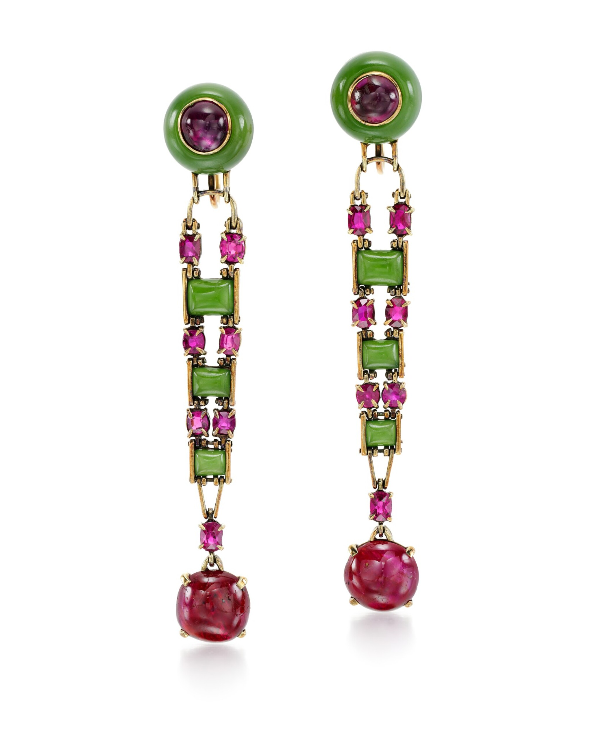View full screen - View 1 of Lot 206. ATTRIBUTED TO OLGA TRITT   PAIR OF JADEITE AND RUBY EARRINGS.