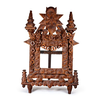MAGNIFICENT AMERICAN TRAMP ART FRAME AND STAND, LATE 19TH CENTURY