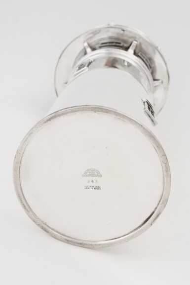 View 3. Thumbnail of Lot 21.  AN AMERICAN SILVER-PLATED LIGHTHOUSE COCKTAIL SHAKER | INTERNATIONAL SILVER CO., MERIDEN, CT | 1927-29.