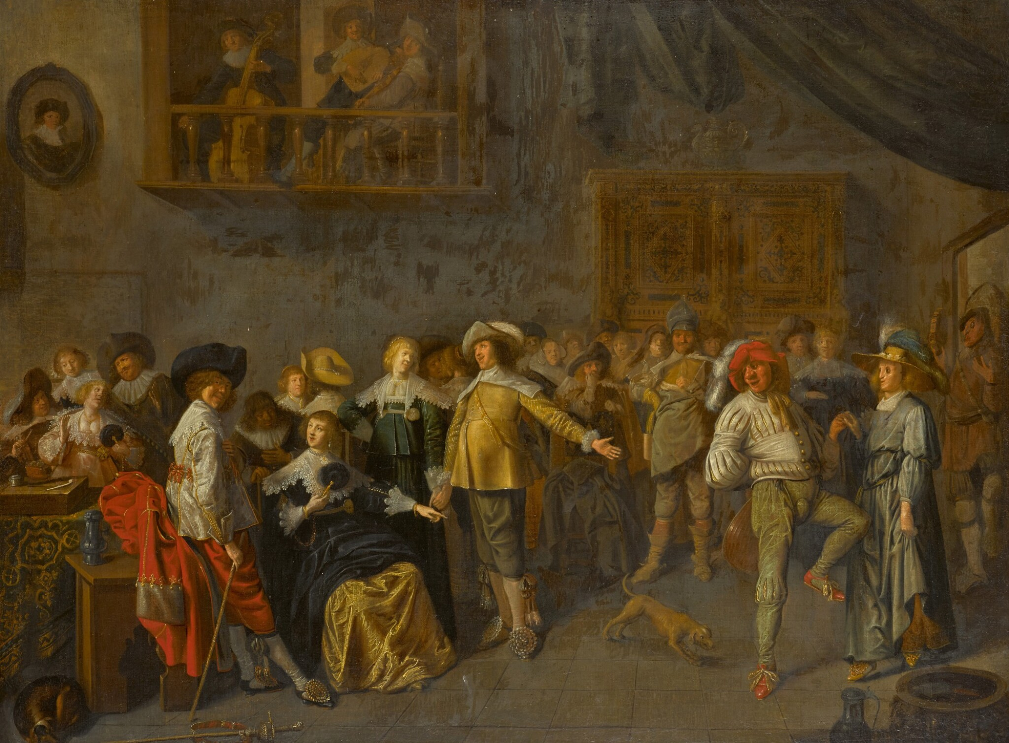 View full screen - View 1 of Lot 154. An elegant company merrymaking in an interior.