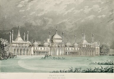 View 2. Thumbnail of Lot 172. NASH, JOHN, AND EDWARD WEDLAKE BRAYLEY | Illustrations of Her Majesty's Palace at Brighton; formerly the Pavilion: executed by the command of King George the fourth, under the superintendence of John Nash ... To which is prefixed a history of the palace, by ... Brayley. London: J.B. Nichols and Son, sold also by R. Loder and James Taylor of Brighton, 1838.