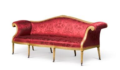 View 2. Thumbnail of Lot 47. A George III giltwood sofa by B. Harmer, circa 1785.