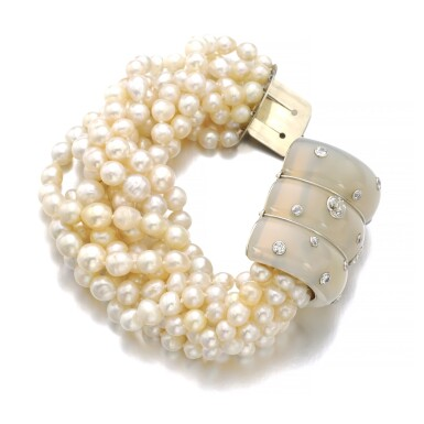 View 2. Thumbnail of Lot 43. SUZANNE BELPERRON   CHALCEDONY, CULTURED PEARL AND DIAMOND BRACELET, CIRCA 1935.