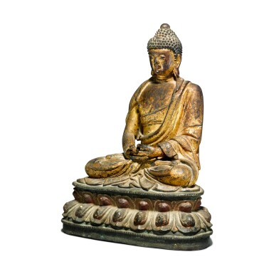 View 3. Thumbnail of Lot 44. A gilt-lacquer bronze figure of seated Buddha, 17th / 18th century.