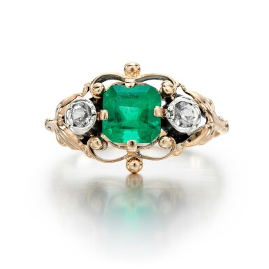 View 1. Thumbnail of Lot 328. EMERALD AND DIAMOND RING.