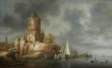WOUTER KNIJFF   RIVER LANDSCAPE WITH A TOWER ON THE BANK