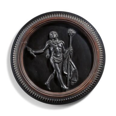 A WEDGWOOD BLACK BASALT CIRCULAR PLAQUE OF A BACCHANALIAN DANCER 19TH CENTURY