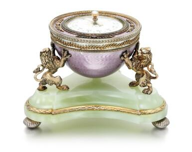 View 2. Thumbnail of Lot 20. A Fabergé silver-gilt guilloché enamel and bowenite barometer, workmaster Henrik Wigström, St Petersburg, 1903.