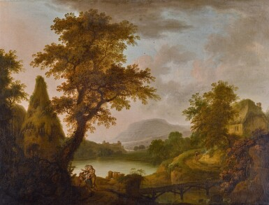 View 1. Thumbnail of Lot 195. Lake scene with a cottage and a group of figures.