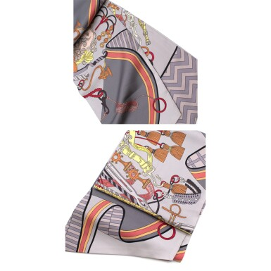 View 4. Thumbnail of Lot 188. HERMÈS | SILK MAXI TWILLY CUT IN GRIS, ORANGE AND VERT D'EAU BOUQUETS SELLIER PRINT. DESIGNED BY PIERRE MARIE, 2014.