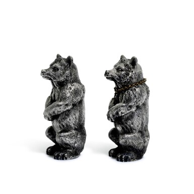 View 4. Thumbnail of Lot 107. A pair of novelty French silver peppers, Désiré Thorel (fils), Paris, late 19th century.