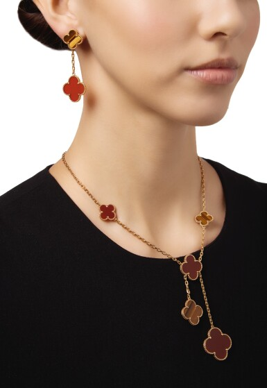 View 2. Thumbnail of Lot 11. CARNELIAN AND TIGER'S EYE 'MAGIC ALHAMBRA' NECKLACE AND PAIR OF EARCLIPS, VAN CLEEF & ARPELS, FRANCE.